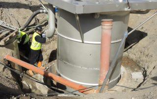 Rostfria pumpsump betongsump